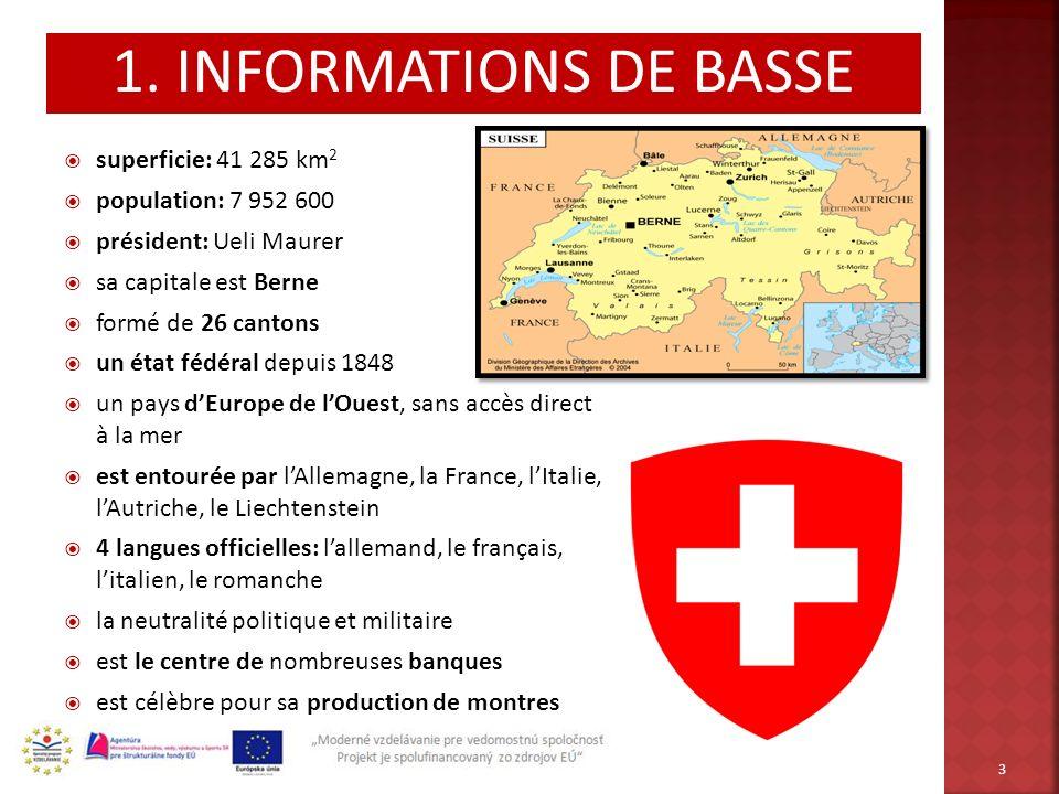 superficie: 41 285 km 2 population: 7 952 600 président: Ueli Maurer sa capitale est Berne formé de 26 cantons un état fédéral depuis 1848 un pays dEu