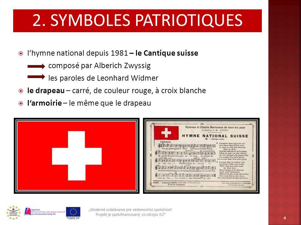 lhymne national depuis 1981 – le Cantique suisse composé par Alberich Zwyssig les paroles de Leonhard Widmer le drapeau – carré, de couleur rouge, à c