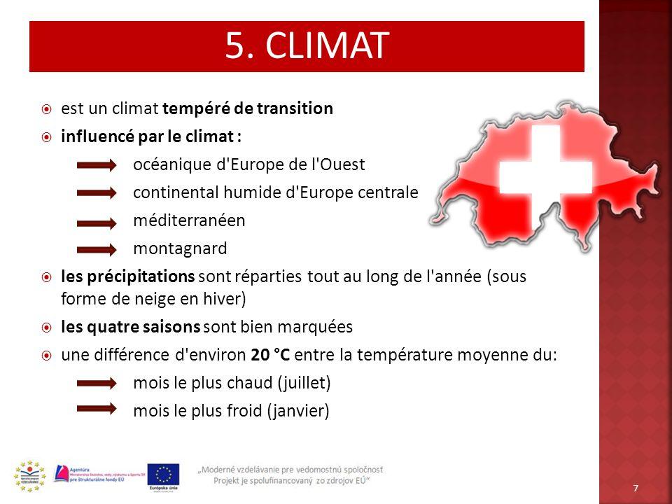 est un climat tempéré de transition influencé par le climat : océanique d'Europe de l'Ouest continental humide d'Europe centrale méditerranéen montagn
