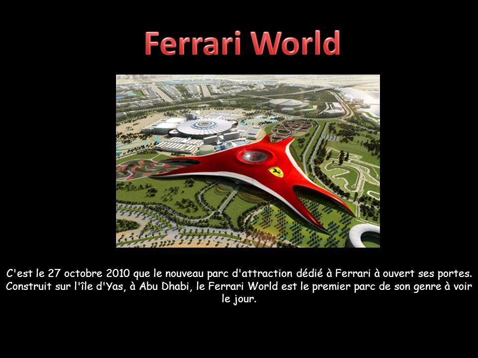 Sous un dôme rouge de 86.000 m2 portant le célèbre logo au cheval cabré, les visiteurs et les fans de la marque trouveront les montagnes russes les plus rapides du monde, une piste de courses pour les enfants et de nombreuses autres attractions… Pas exactement un symbole du développement durable mais la concrétisation des choix de développement des Emirats Arabes Unis vers de nouvelles ressources comme le tourisme de luxe : Ferrari World fait partie du programme de développement de l île de Yas, avec un investissement qui s élève à 40 milliards de dollars.