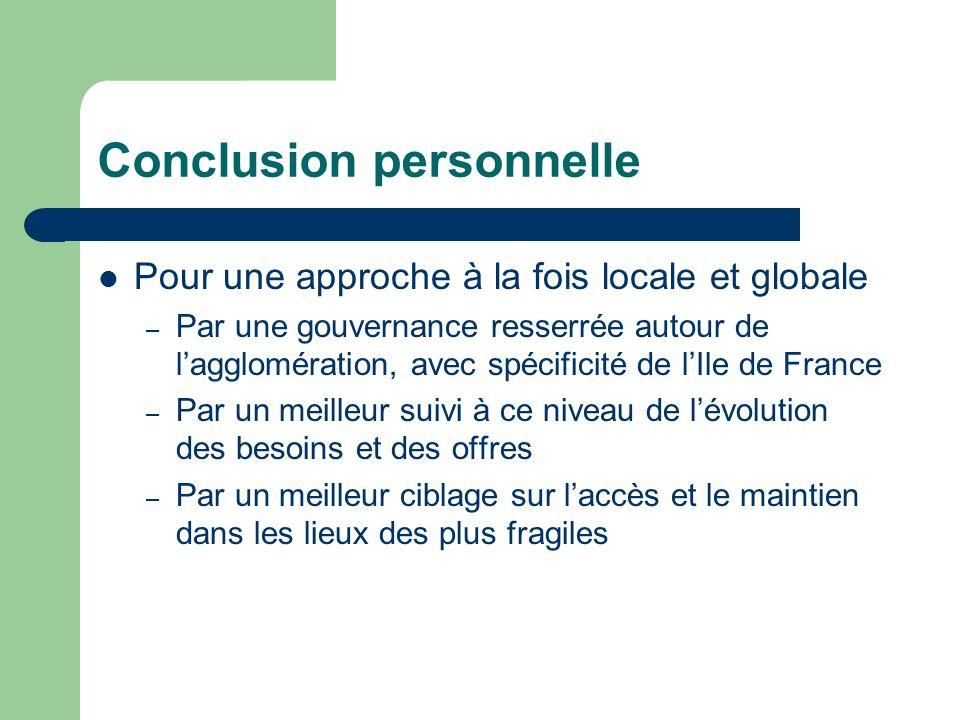 Conclusion personnelle Pour une approche à la fois locale et globale – Par une gouvernance resserrée autour de lagglomération, avec spécificité de lIl