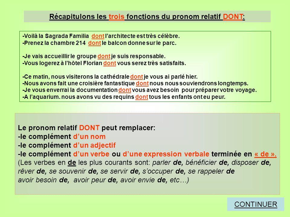 Récapitulons les trois fonctions du pronom relatif DONT: Le pronom relatif DONT peut remplacer: -le complément dun nom -le complément dun adjectif -le