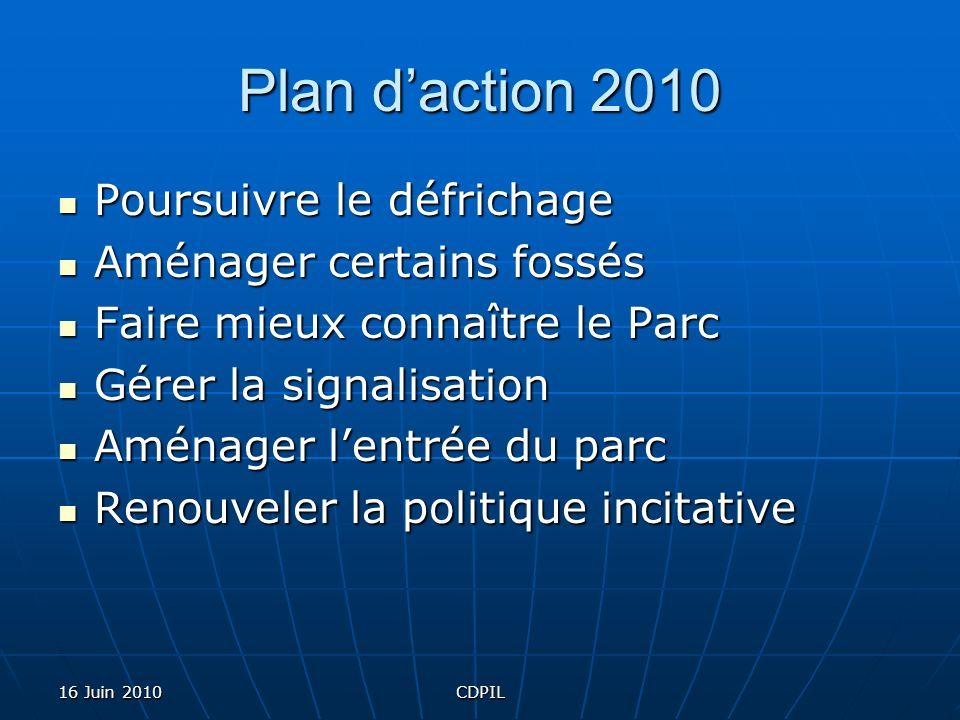 16 Juin 2010CDPIL Plan daction 2010 Poursuivre le défrichage Aménager certains fossés Faire mieux connaître le Parc Gérer la signalisation Aménager le