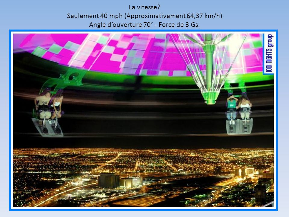 La vitesse? Seulement 40 mph (Approximativement 64,37 km/h) Angle douverture 70° - Force de 3 Gs.