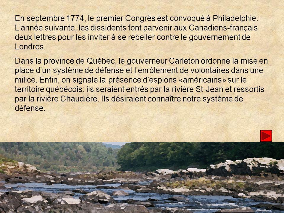 En septembre 1774, le premier Congrès est convoqué à Philadelphie.