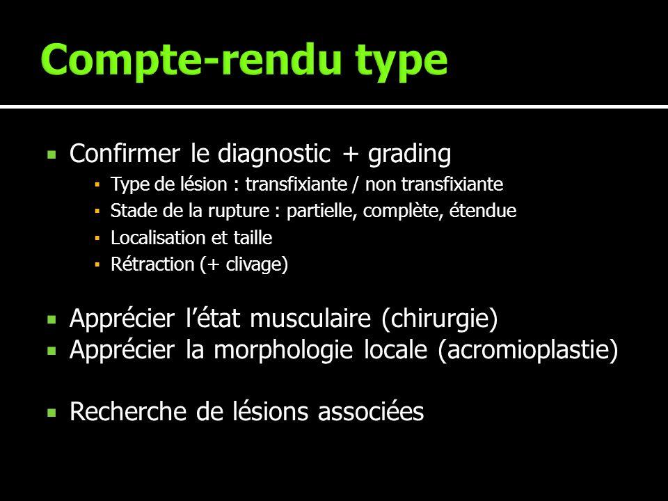 Confirmer le diagnostic + grading Type de lésion : transfixiante / non transfixiante Stade de la rupture : partielle, complète, étendue Localisation e