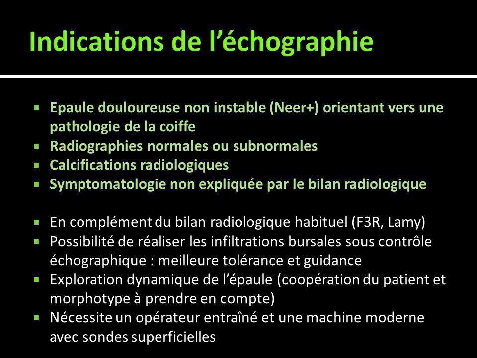 Epaule douloureuse non instable (Neer+) orientant vers une pathologie de la coiffe Radiographies normales ou subnormales Calcifications radiologiques