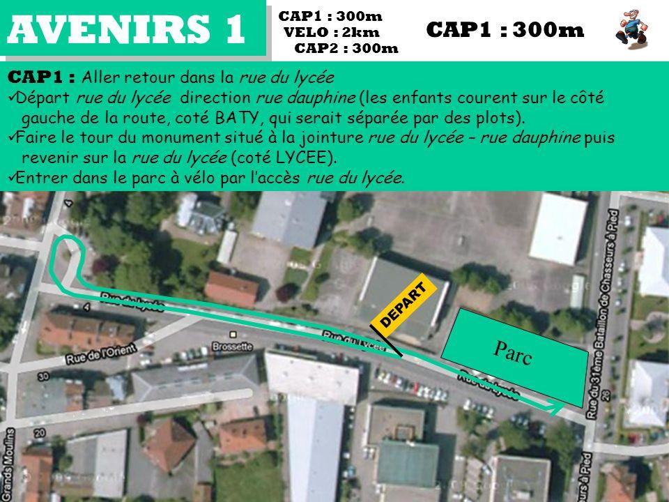 AVENIRS 1 CAP2 : 300m CAP1 : Aller retour dans la rue du lycée Départ rue du lycée direction rue dauphine (les enfants courent sur le côté gauche de la route, coté BATY, qui serait séparée par des plots).