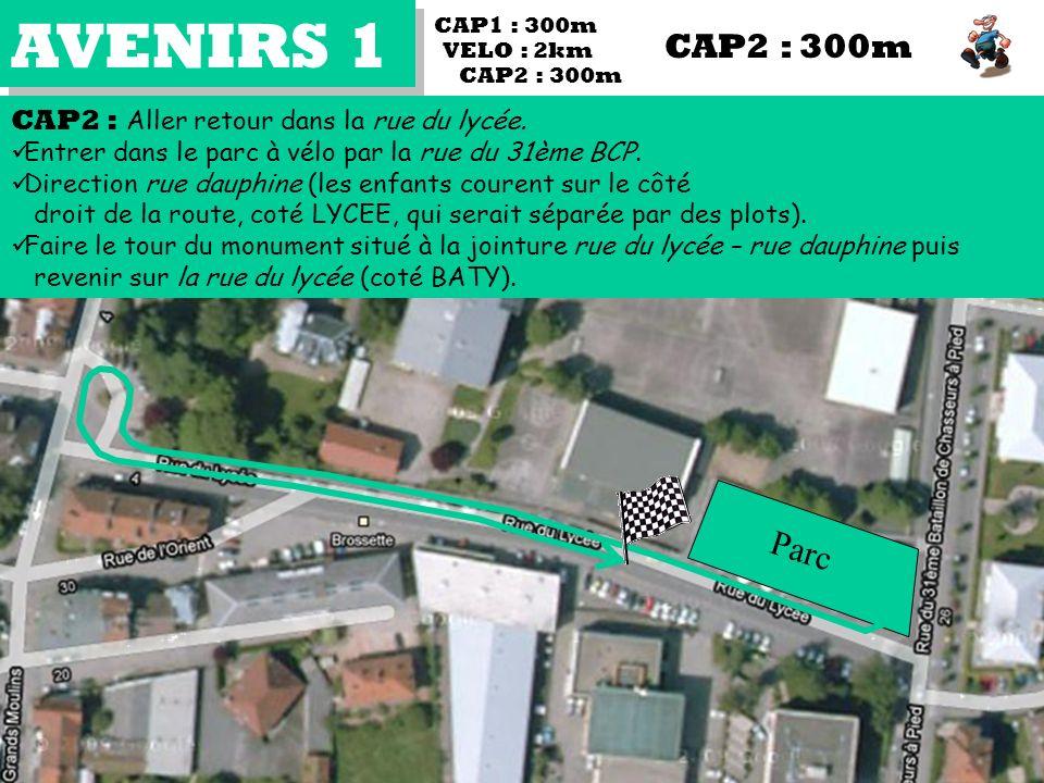 AVENIRS 1 CAP2 : Aller retour dans la rue du lycée. Entrer dans le parc à vélo par la rue du 31ème BCP. Direction rue dauphine (les enfants courent su