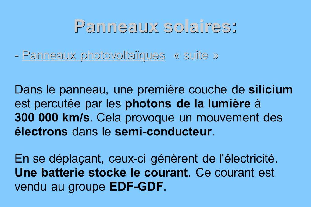 Panneaux solaires: - Panneaux photovoltaïques « suite » Dans le panneau, une première couche de silicium est percutée par les photons de la lumière à