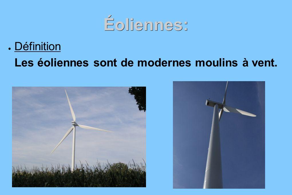 Éoliennes: Définition Les éoliennes sont de modernes moulins à vent.