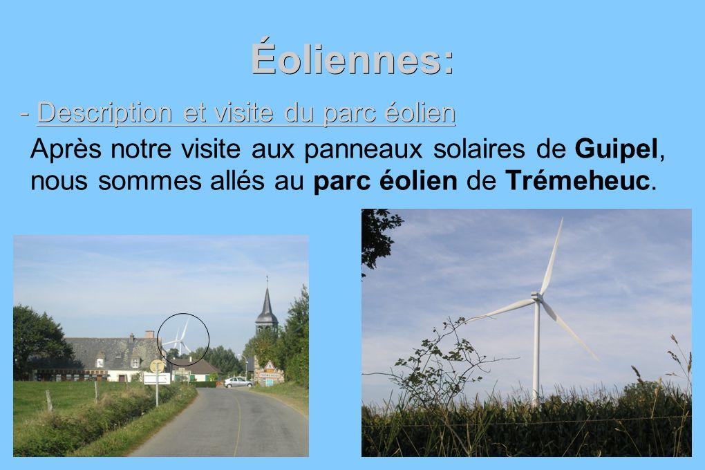Éoliennes: - Description et visite du parc éolien Après notre visite aux panneaux solaires de Guipel, nous sommes allés au parc éolien de Trémeheuc.