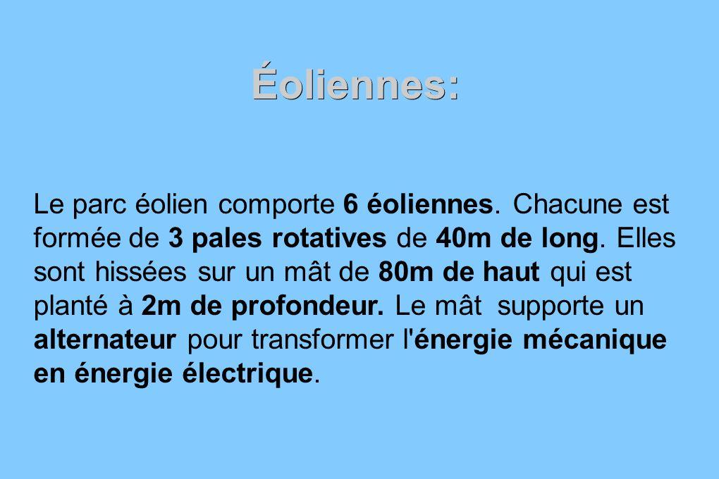 Éoliennes: Le parc éolien comporte 6 éoliennes. Chacune est formée de 3 pales rotatives de 40m de long. Elles sont hissées sur un mât de 80m de haut q