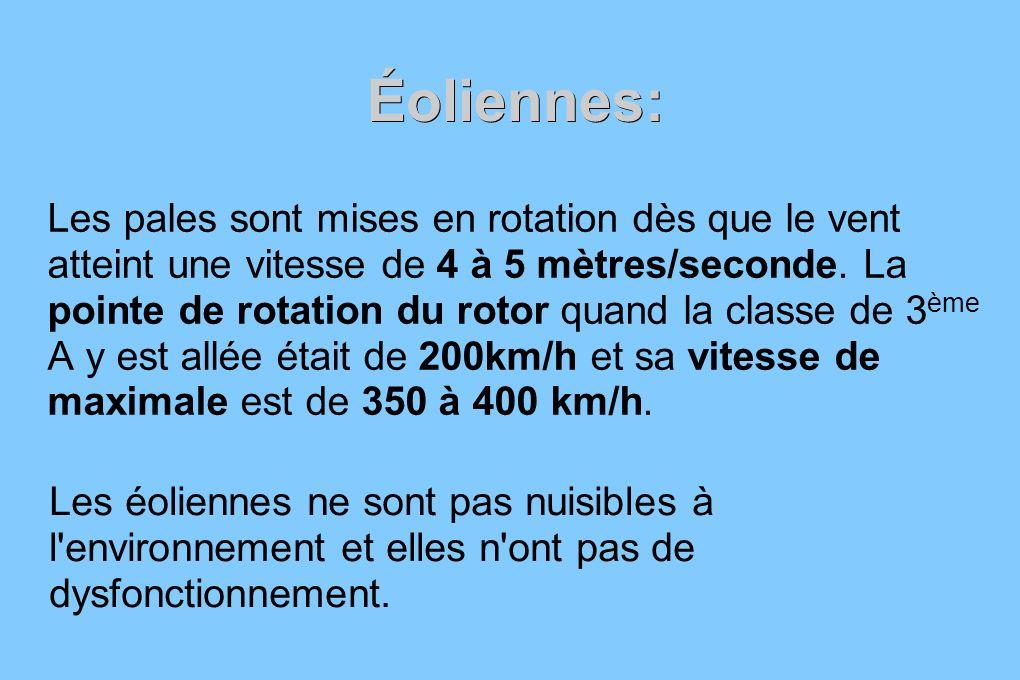 Éoliennes: Les pales sont mises en rotation dès que le vent atteint une vitesse de 4 à 5 mètres/seconde. La pointe de rotation du rotor quand la class