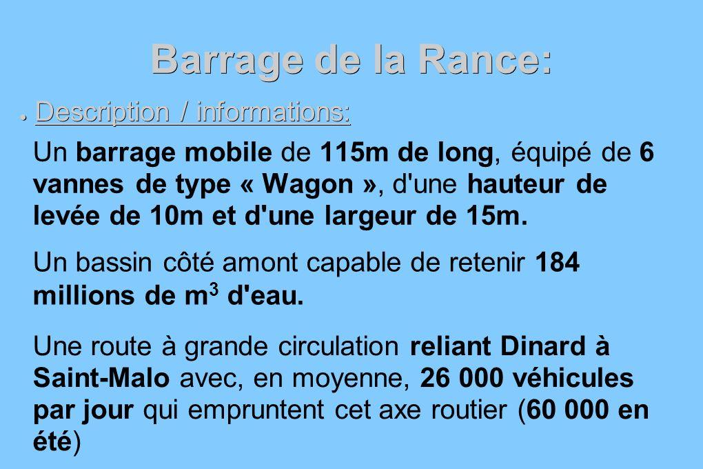 Barrage de la Rance: Description / informations: Description / informations: Un barrage mobile de 115m de long, équipé de 6 vannes de type « Wagon »,