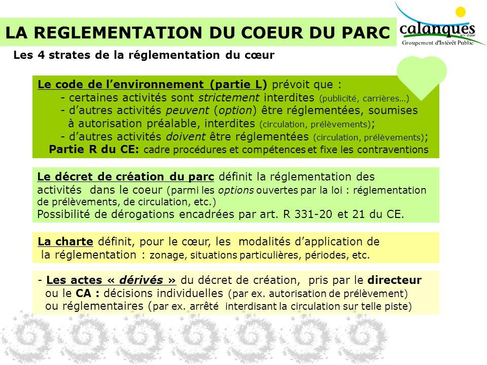 LA REGLEMENTATION DU COEUR DU PARC Le décret de création du parc définit la réglementation des activités dans le coeur (parmi les options ouvertes par