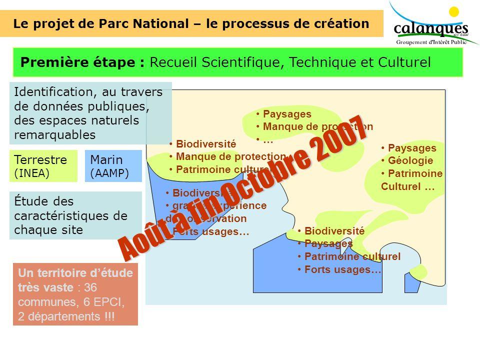 Première étape : Recueil Scientifique, Technique et Culturel Identification, au travers de données publiques, des espaces naturels remarquables Terres