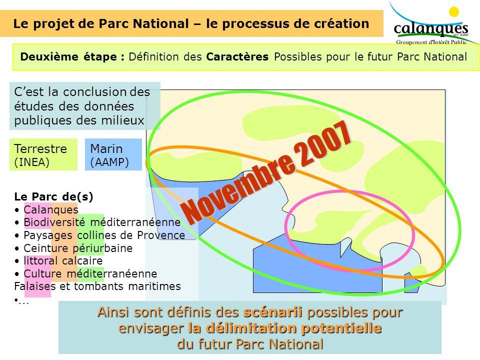 Deuxième étape : Définition des Caractères Possibles pour le futur Parc National Cest la conclusion des études des données publiques des milieux Terre