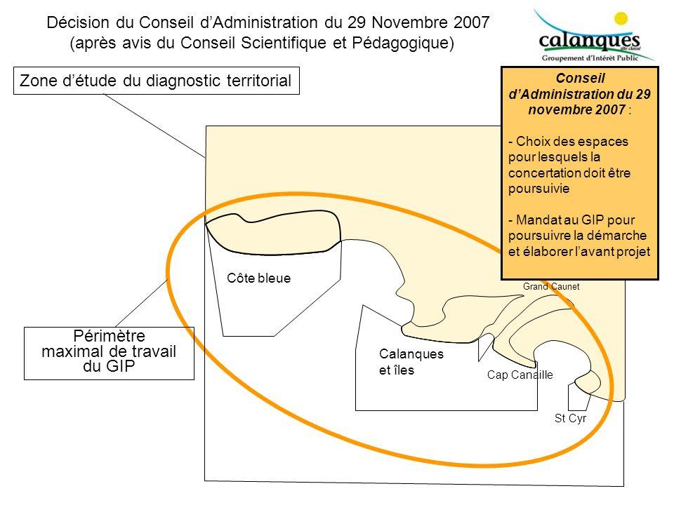 Périmètre maximal de travail du GIP Zone détude du diagnostic territorial Côte bleue Calanques et îles Cap Canaille St Cyr Grand Caunet Décision du Co