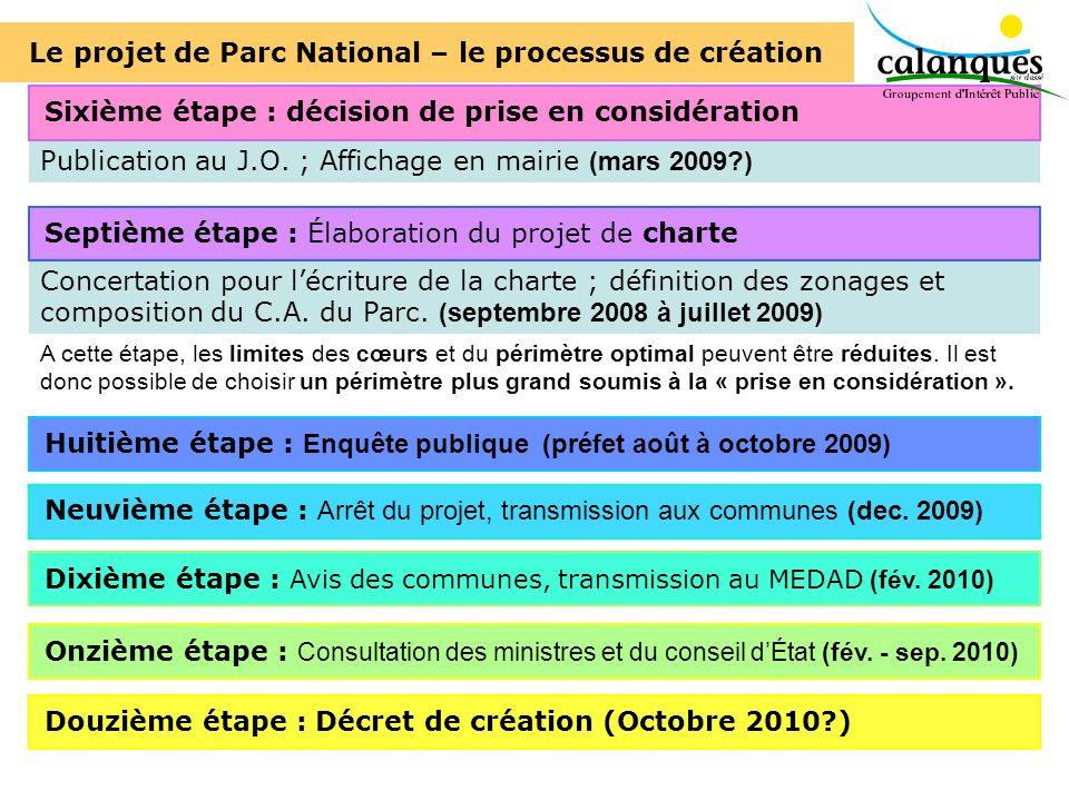 Concertation pour lécriture de la charte ; définition des zonages et composition du C.A. du Parc. (septembre 2008 à juillet 2009) Publication au J.O.
