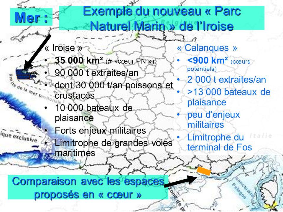 Exemple du nouveau « Parc Naturel Marin » de lIroise « Iroise » 35 000 km² (# »cœur PN ») 90 000 t extraites/an dont 30 000 t/an poissons et crustacés