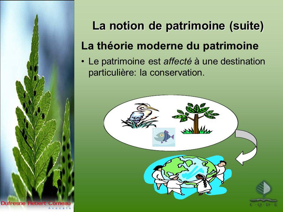 La théorie moderne du patrimoine Le patrimoine est affecté à une destination particulière: la conservation.