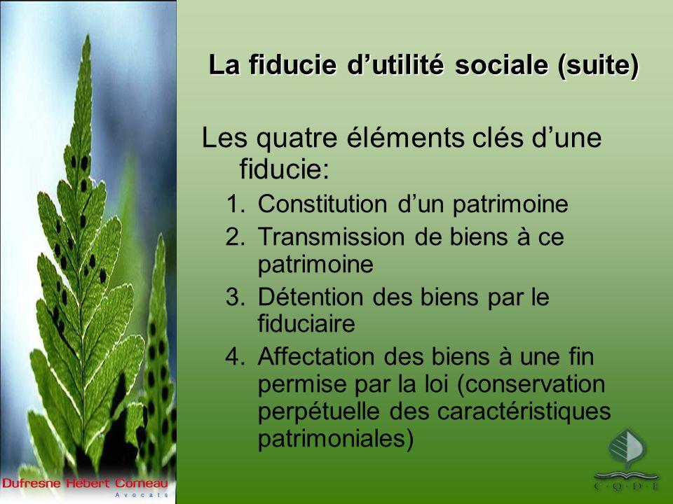 La fiducie dutilité sociale (suite) Les quatre éléments clés dune fiducie: 1.Constitution dun patrimoine 2.Transmission de biens à ce patrimoine 3.Dét