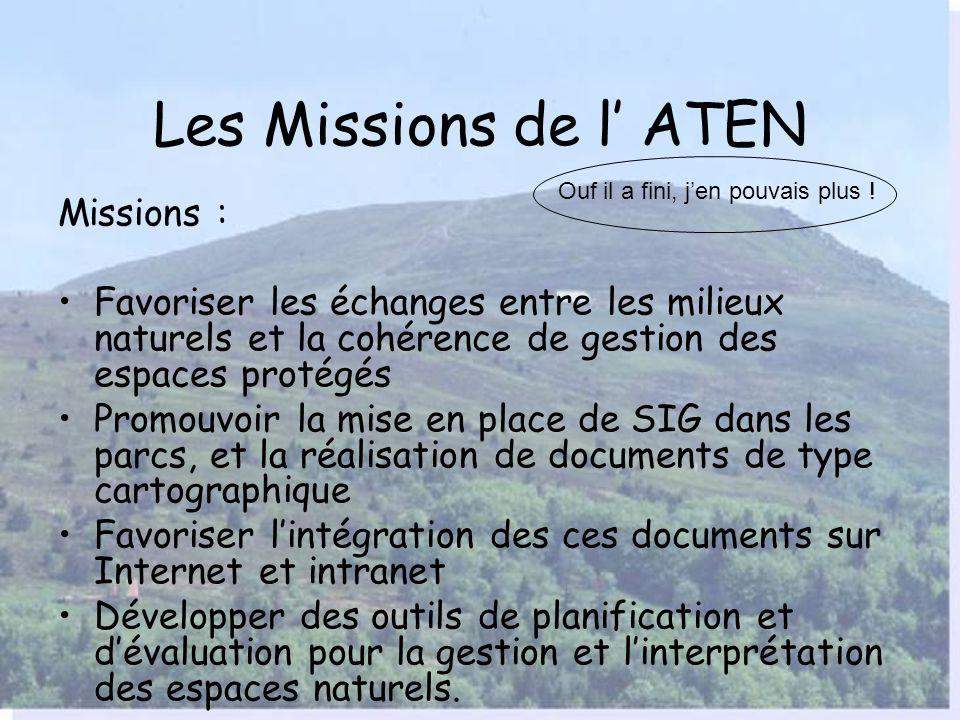 La diffusion des SIG auprès des PNR Linformation sur les méthodes de planification et de création de documents techniques est une des mission de l ATE