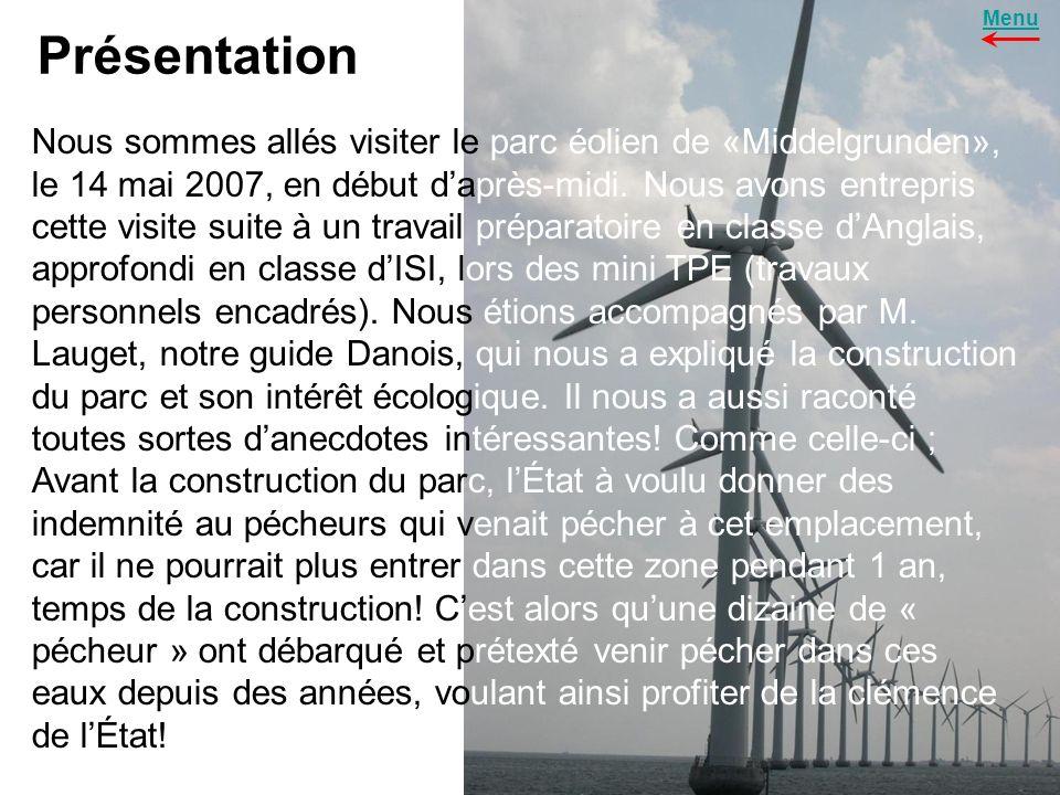 Présentation (suite) Le parc offshore de « Middelgrunden » est situé à 2 Km à lest de Copenhague, il est constitué de 20 éoliennes disposés en arc de cercle.