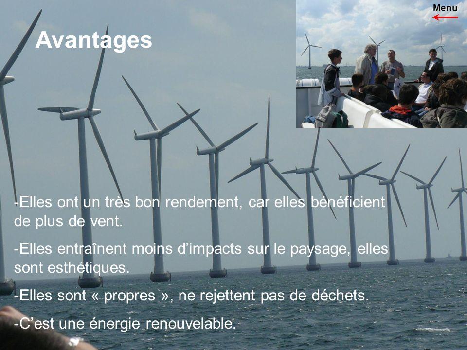 Avantages -Elles ont un très bon rendement, car elles bénéficient de plus de vent.