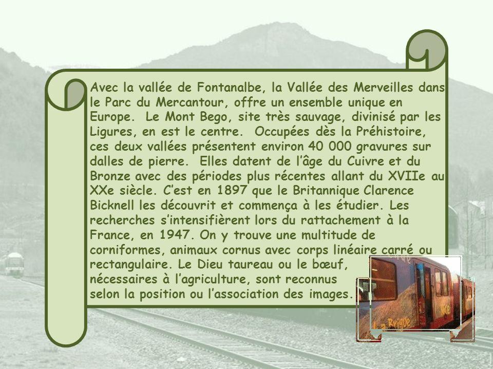 Présentée à lhorizontale, le trajet de la fameuse Route Royale ou Route du sel reliant Nice à Turin. Ce sel, récolté à Toulon ou Hyères, était transpo