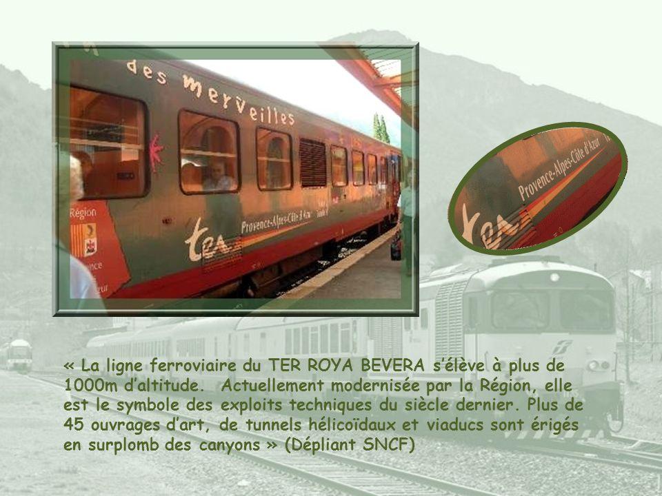 « La ligne ferroviaire du TER ROYA BEVERA sélève à plus de 1000m daltitude.