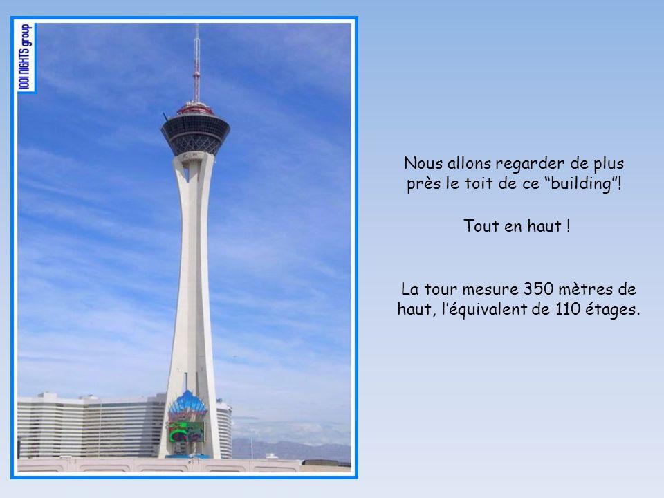 Nous allons regarder de plus près le toit de ce building! Tout en haut ! La tour mesure 350 mètres de haut, léquivalent de 110 étages.