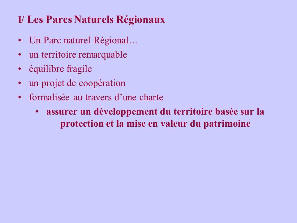 I/ Les Parcs Naturels Régionaux Un Parc naturel Régional… un territoire remarquable équilibre fragile un projet de coopération formalisée au travers dune charte assurer un développement du territoire basée sur la protection et la mise en valeur du patrimoine