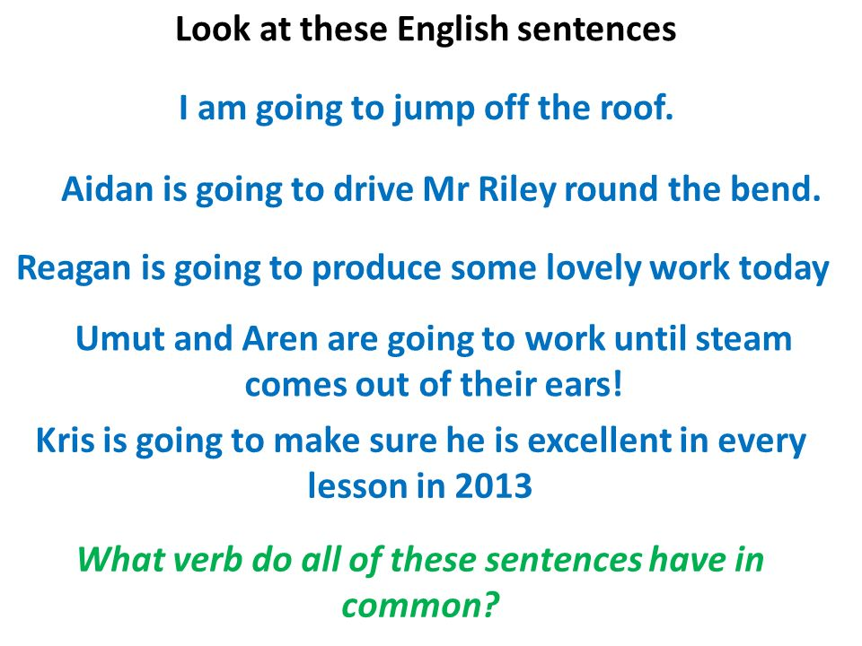 Look at these English sentences I am going to jump off the roof.