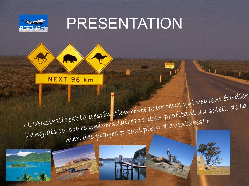PRESENTATION « L Australie est la destination rêvée pour ceux qui veulent étudier l anglais ou cours universitaires tout en profitant du soleil, de la mer, des plages et tout plein d aventures.