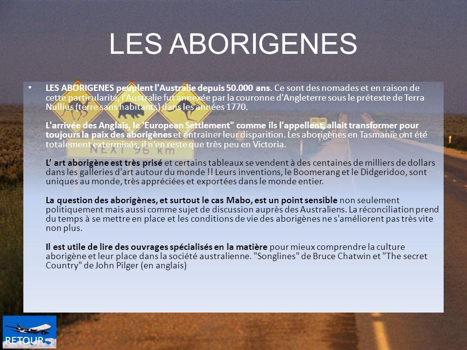 LES ABORIGENES LES ABORIGENES peuplent l'Australie depuis 50.000 ans. Ce sont des nomades et en raison de cette particularité, l'Australie fut annexée