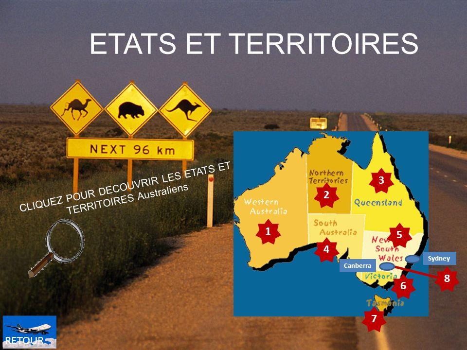 4 1 7 6 5 3 2 CLIQUEZ POUR DECOUVRIR LES ETATS ET TERRITOIRES Australiens ETATS ET TERRITOIRES 8 Sydney Canberra 4 RETOUR