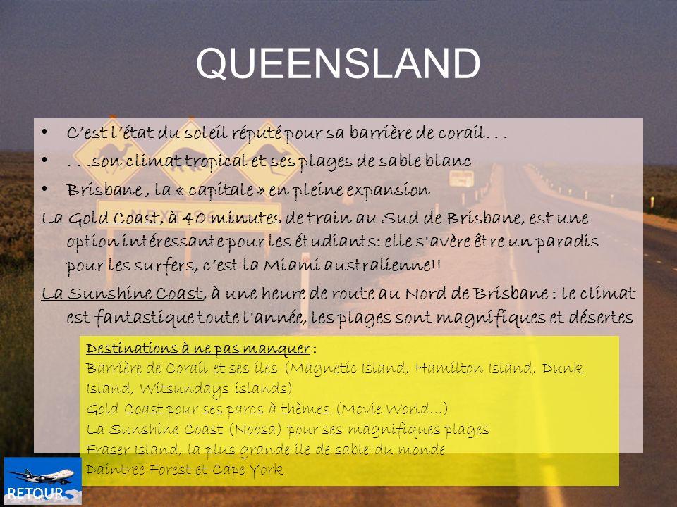 QUEENSLAND Cest létat du soleil réputé pour sa barrière de corail......son climat tropical et ses plages de sable blanc Brisbane, la « capitale » en p