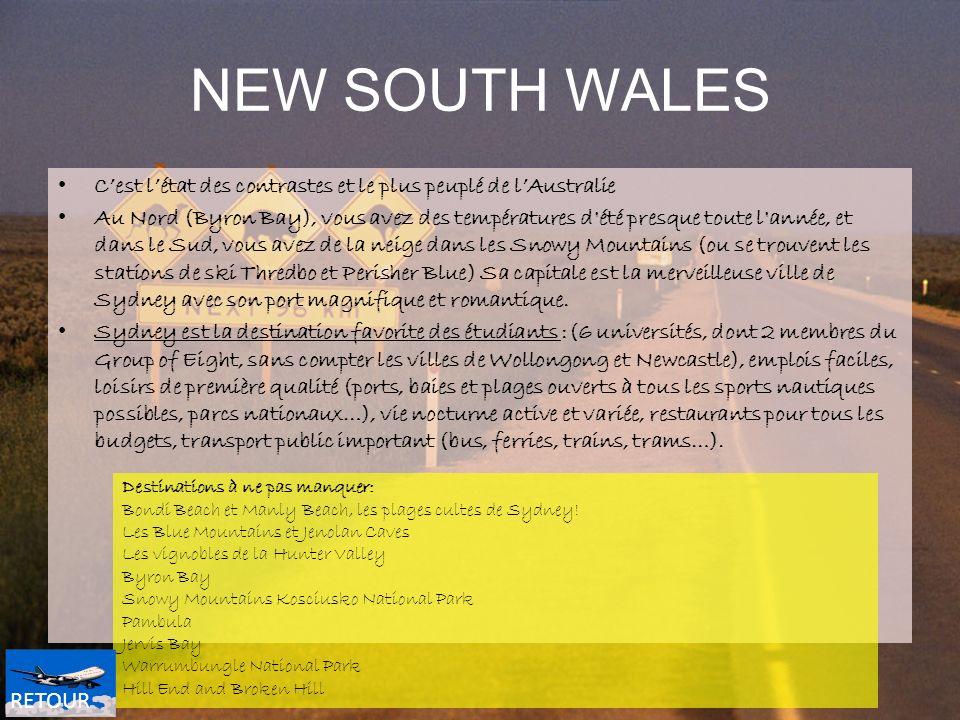 NEW SOUTH WALES Cest létat des contrastes et le plus peuplé de lAustralie Au Nord (Byron Bay), vous avez des températures d'été presque toute l'année,