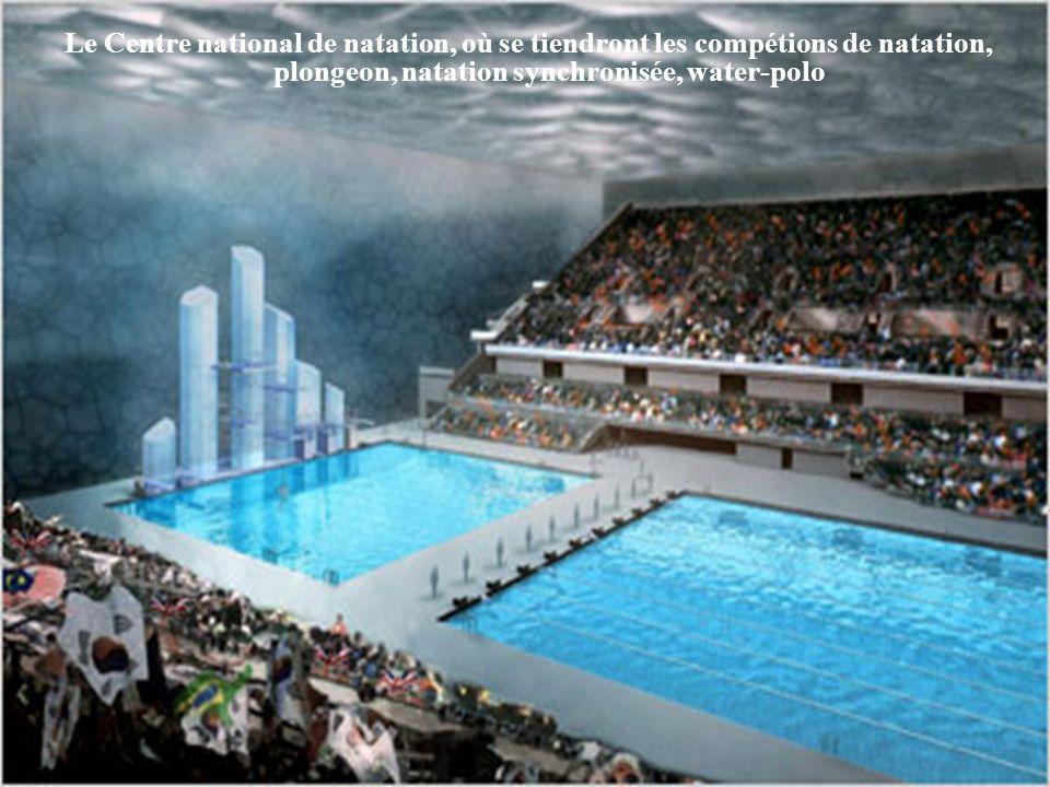 Le Centre national de natation, où se tiendront les compétions de natation, plongeon, natation synchronisée, water-polo