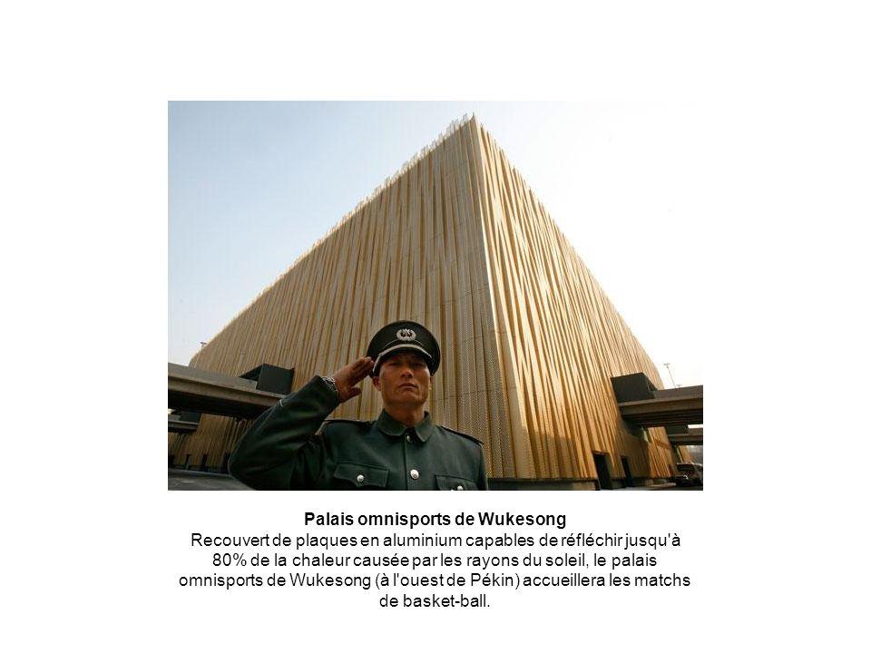 Palais omnisports de Wukesong Recouvert de plaques en aluminium capables de réfléchir jusqu'à 80% de la chaleur causée par les rayons du soleil, le pa