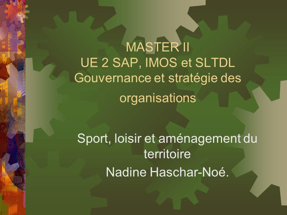 MASTER II UE 2 SAP, IMOS et SLTDL Gouvernance et stratégie des organisations Sport, loisir et aménagement du territoire Nadine Haschar-Noé.