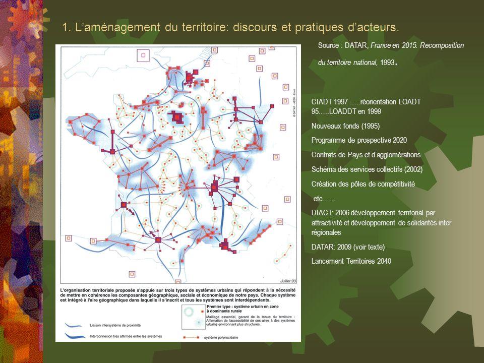 1. Laménagement du territoire: discours et pratiques dacteurs. Source : DATAR, France en 2015. Recomposition du territoire national, 1993. CIADT 1997