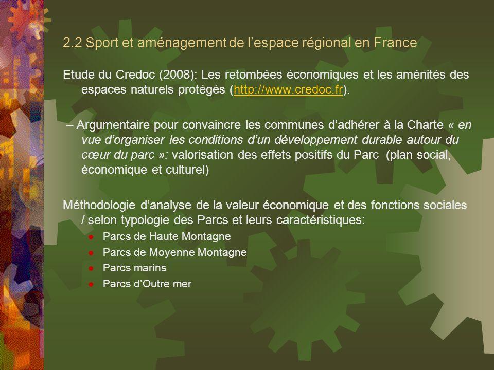 2.2 Sport et aménagement de lespace régional en France Etude du Credoc (2008): Les retombées économiques et les aménités des espaces naturels protégés