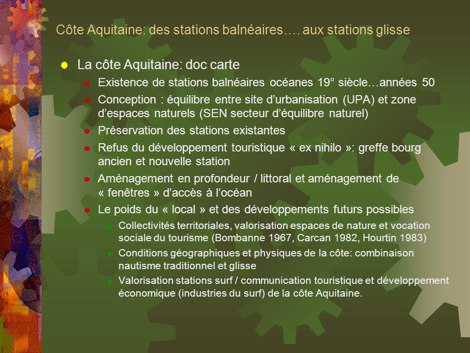Côte Aquitaine: des stations balnéaires…. aux stations glisse La côte Aquitaine: doc carte Existence de stations balnéaires océanes 19° siècle…années