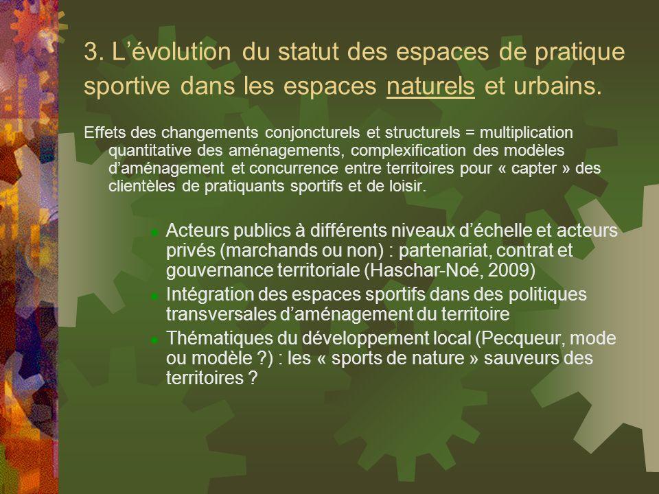 3. Lévolution du statut des espaces de pratique sportive dans les espaces naturels et urbains. Effets des changements conjoncturels et structurels = m