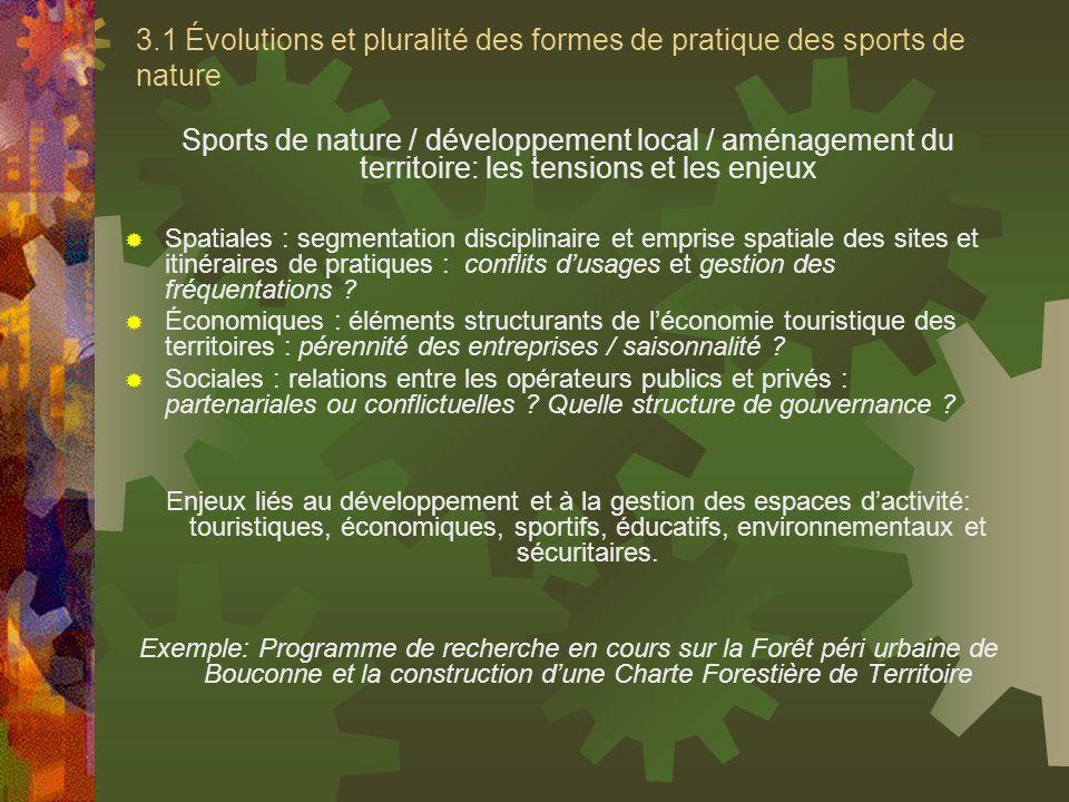 3.1 Évolutions et pluralité des formes de pratique des sports de nature Sports de nature / développement local / aménagement du territoire: les tensio
