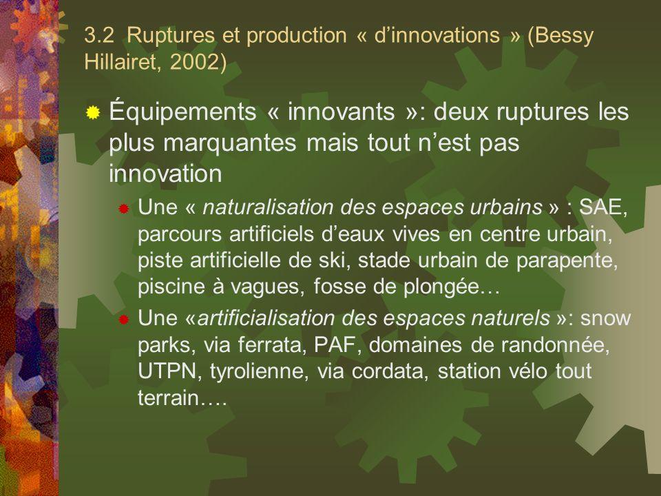 3.2 Ruptures et production « dinnovations » (Bessy Hillairet, 2002) Équipements « innovants »: deux ruptures les plus marquantes mais tout nest pas in