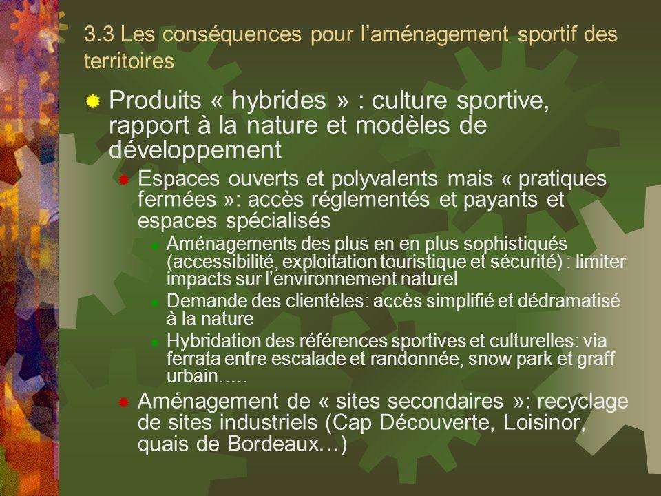 3.3 Les conséquences pour laménagement sportif des territoires Produits « hybrides » : culture sportive, rapport à la nature et modèles de développeme